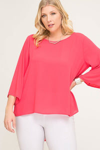 Three Quarter Sleeve High Low Tunic Top with Pleat Back