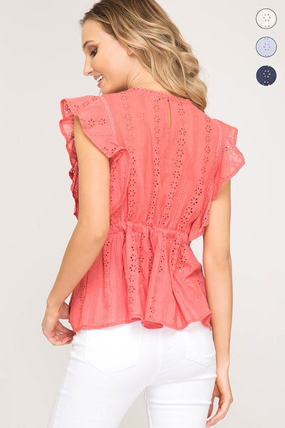 Ruffled Sleeves Eyelet Woven Top with Waist Drawstring Tie Detail