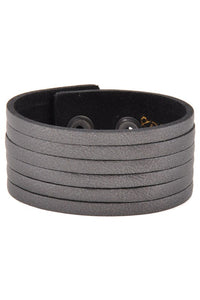Snap On Plain Crack Print Genuine Leather Wrist Band