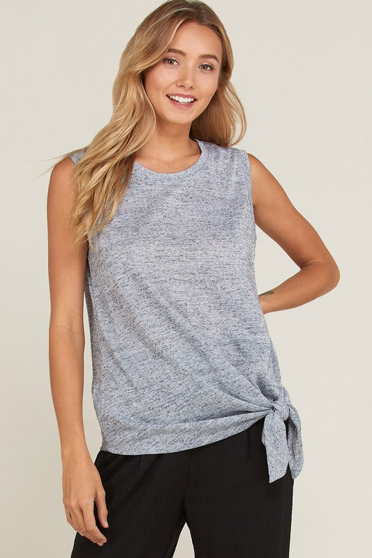 Sleeveless 2-Tone Front Tie Hem Tank Top