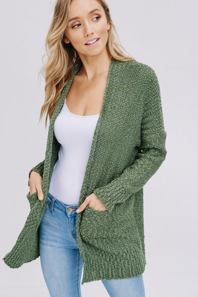 Long Sleeve, Open Front, Solid Sweater Cardigan with Pockets