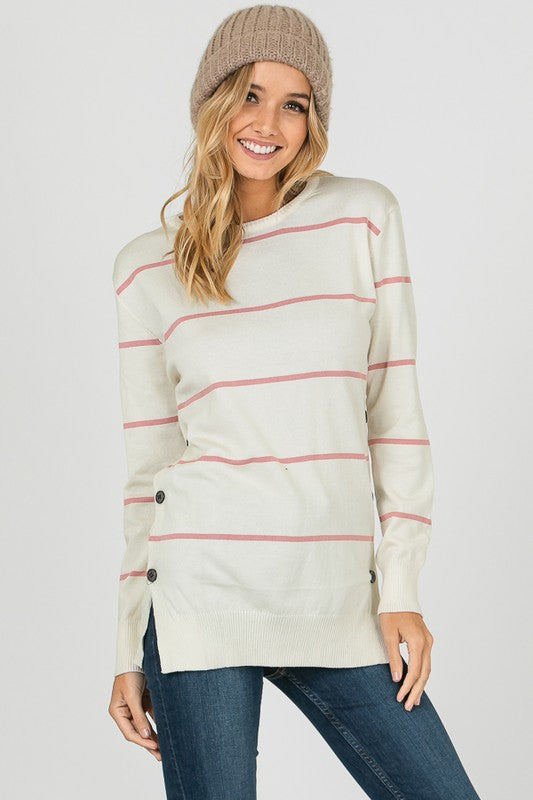 Stripe Knit with Open & Close Buttons