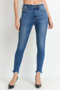High Rise Skinny with Uneven Frayed Hem