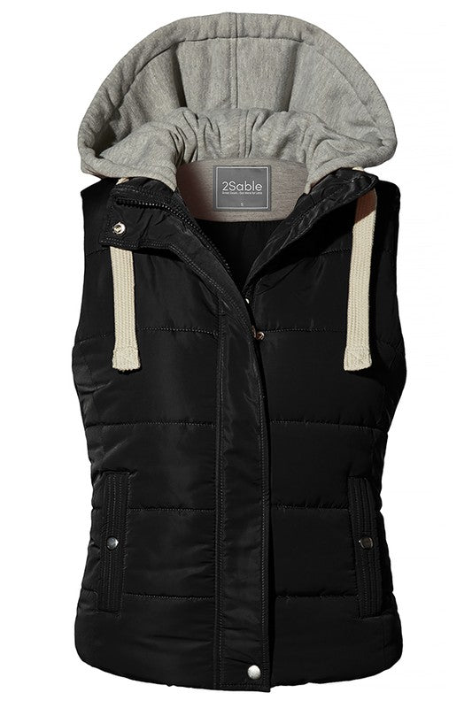 Quilted Fully Lined Padded Puffer Vest with Hoodie