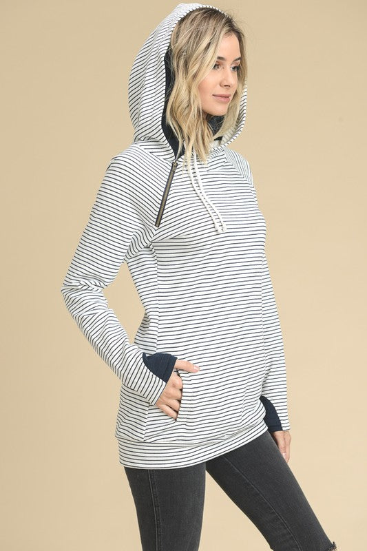 Stripe Sleeved Color Block French Terry Hoodie Sweatshirt with Zipper Neck and Hidden Thumbholes
