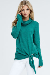 Cozy Knit Sweater Featuring Side Knot Detail and Cowl Neck and Split Front