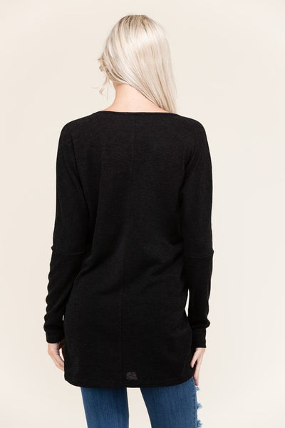 Two-Tone Long Dolman Sleeve, Wide Neck Tunic Top