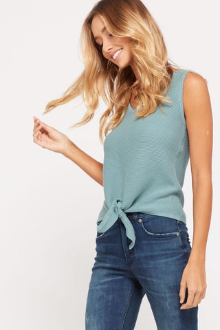 Ribbed Knit Self Tie V-Neck Sleeveless Top