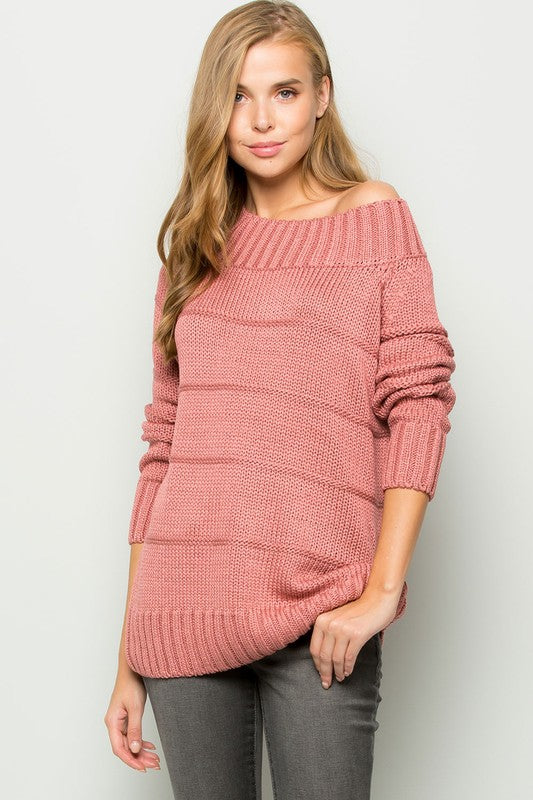 Off Shoulder Long Sleeve Sweater Tunic