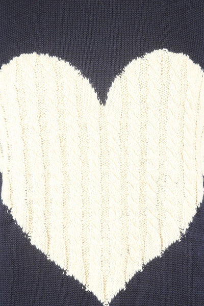 Relaxed Lightweight Soft Knit Sweater with Asymmetric Heart Print