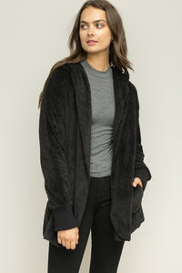 Faux Fur, Plush Hooded Jacket with an Open Front and Pockets