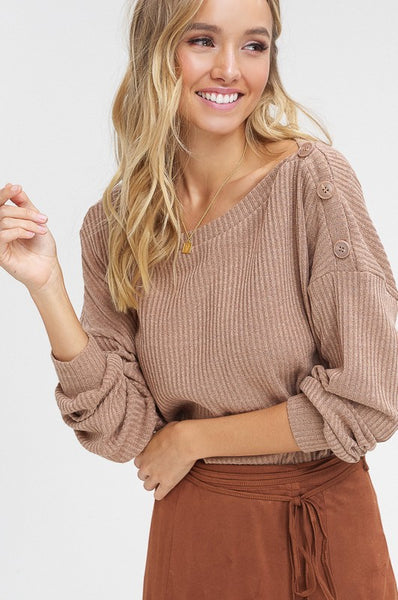 Boat Neck, Ribbed Top with One Shoulder Button Down Top