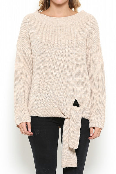 Round Neck Knit Sweater with Front Tie