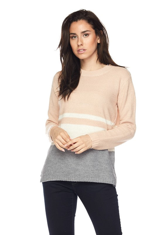 Color Block Sweater with Side Slit