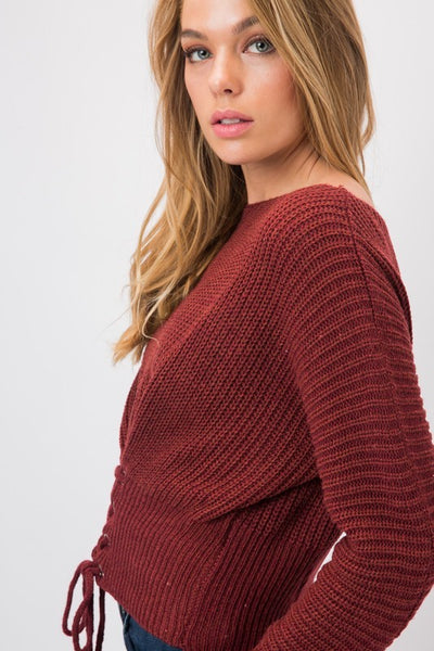 Chunky Knit Sweater with Corset Lace Up Front