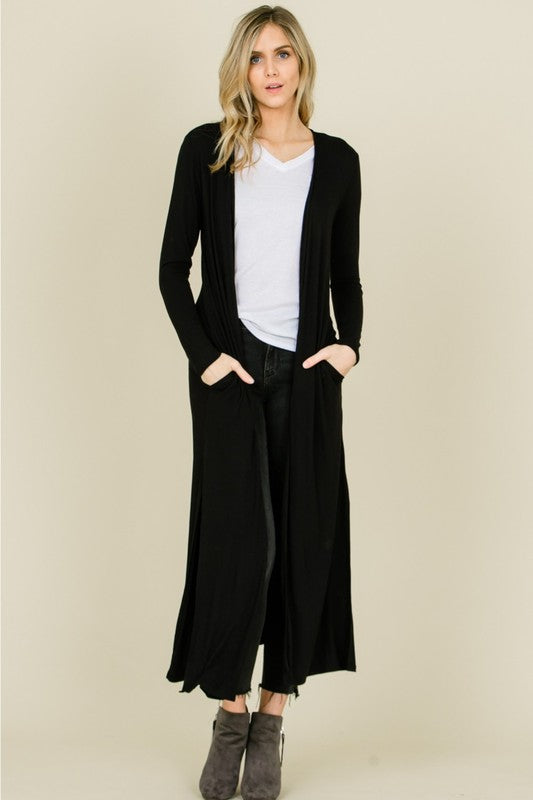 Open Front Maxi Duster Cardigan with Pockets