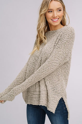 Popcorn Textured Pullover Sweater