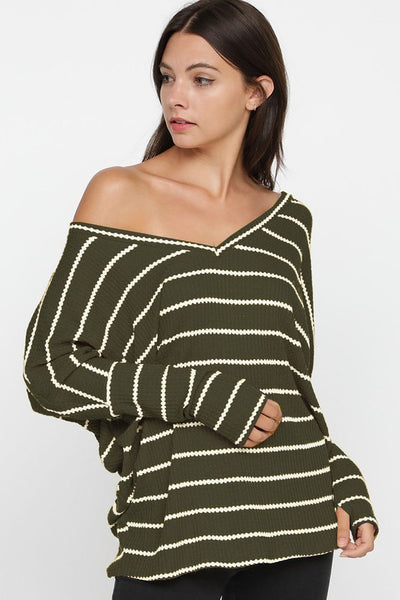 Wide V-Neck Thermal Stripe Knit Top