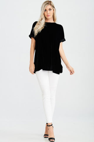 Short Sleeve Velvet Crew Neck Top with Side Slit
