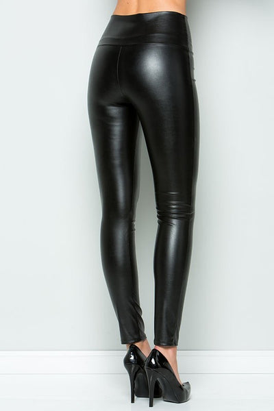 Faux Leather Leggings with Elastic Waistband