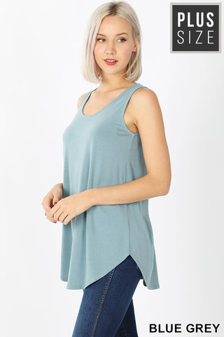 Curvy Sleeveless Round Neck & Hem Top
