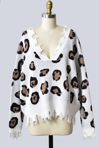 Long Sleeve, Leopard Print Distressed Sweater Top