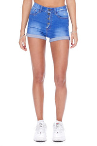 High Waisted Four Button Denim Shorts with Cuff