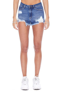 High Rise Distressed Denim Shorts with Frayed Hem
