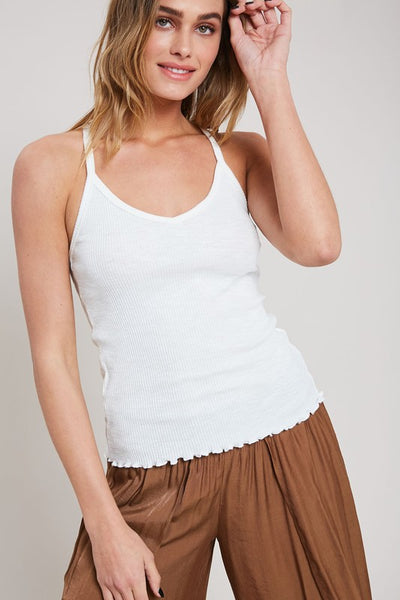 Ribbed Knit Racerback Tank Top