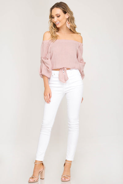 3/4 Sleeve Woven Striped Off The Shoulder Top with Front Tie