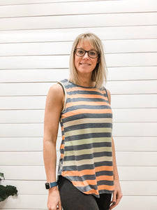 Sleeveless Ombre Stripe Tunic Top