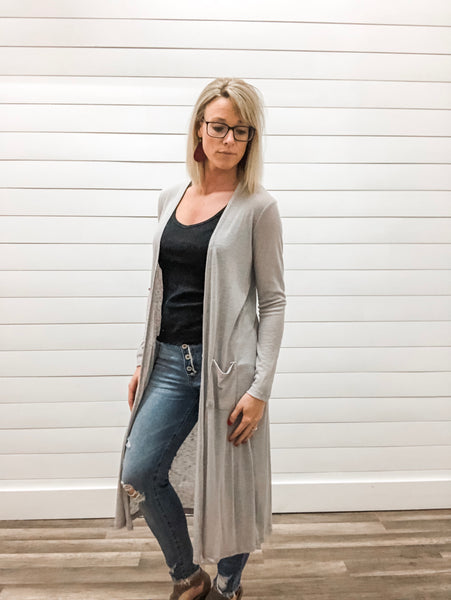 Long Sleeve Duster with Pockets