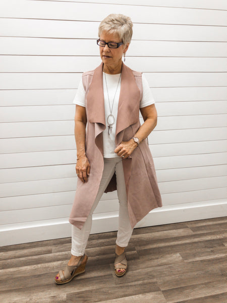 Two Tone Knee Length Blazer with Faux Suede