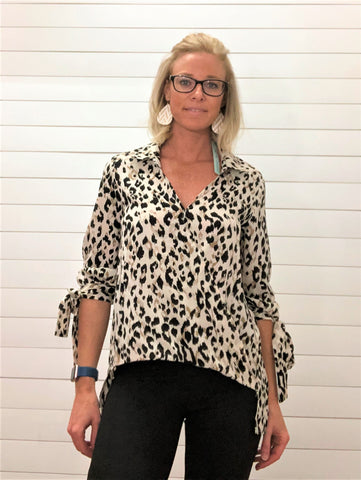 3/4 Sleeve Woven Surpluce Hi Low Hem Leopard Top with Sleeve Tie Details