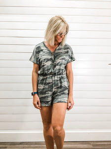 Camo V Neck Button Down, Sleeveless, Elastic Waist, Patch Pocket Knit Romper