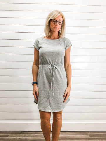 Short Sleeve, Drawstring Dress with Pockets