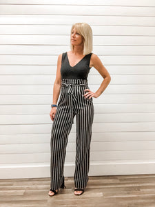 Sleeveless V Neck Jumpsuit with Striped Pants