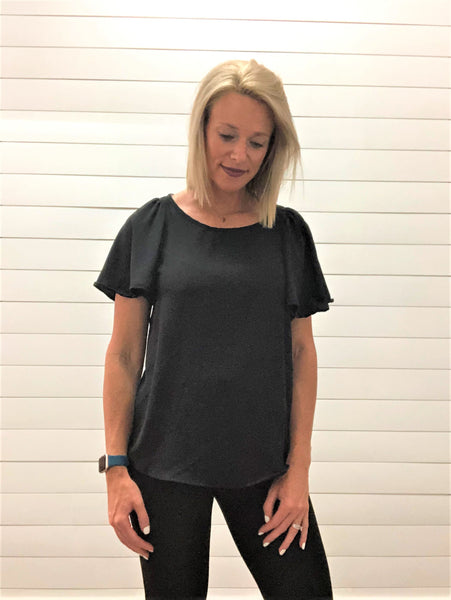 Black Blouse with Short Bell Sleeve and Keyhole Back