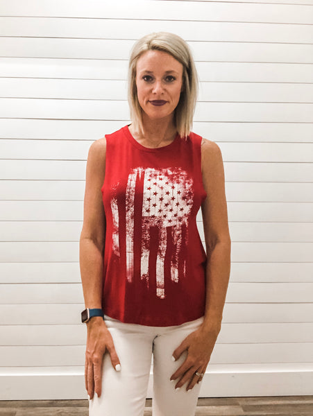 American Distressed Flag Scoop Neck Tank