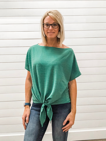 Emerald Boat Neck Self Tie Top with Hi-Lo Hem