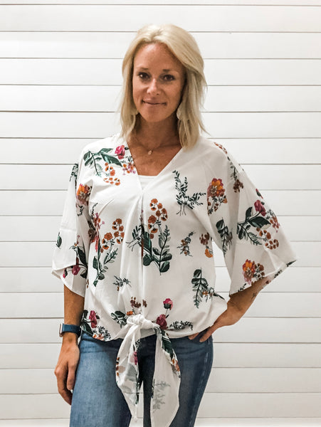 Floral Lightweight Blouse, with Button Up Front, Flowy Sleeves and Self Tie