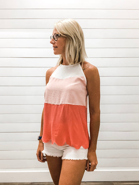 Color Block Halter Top with Scallop Hem