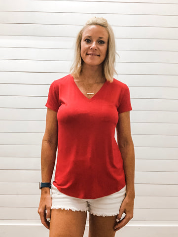Indie Red V Neck Short Sleeve Top with Pocket