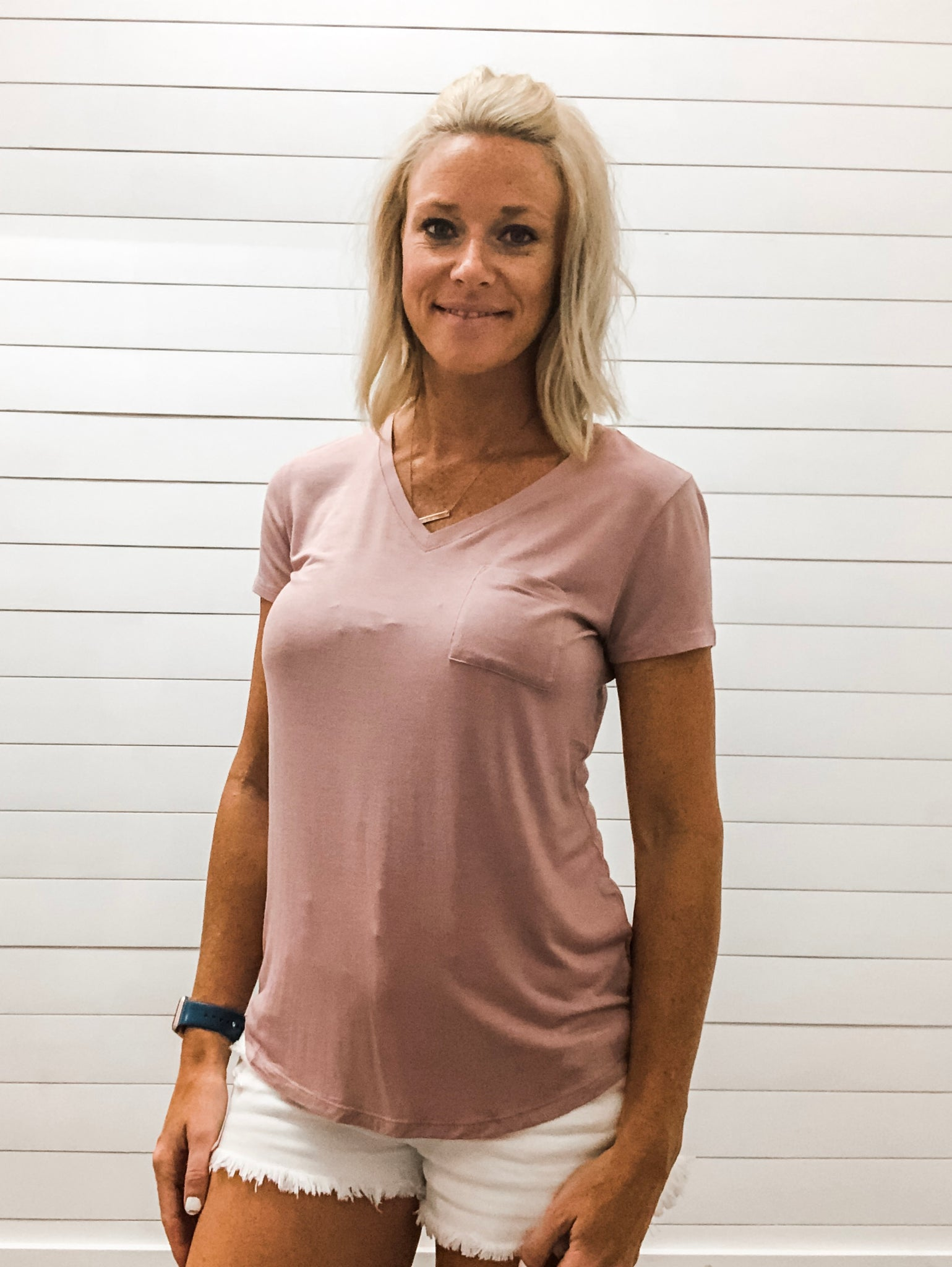 Dusty Pink V Neck Short Sleeve Top with Pocket