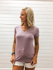 Lavender Fog V Neck Short Sleeve Top with Pocket
