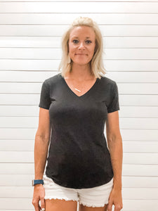 Black V Neck Short Sleeve Top with Pocket
