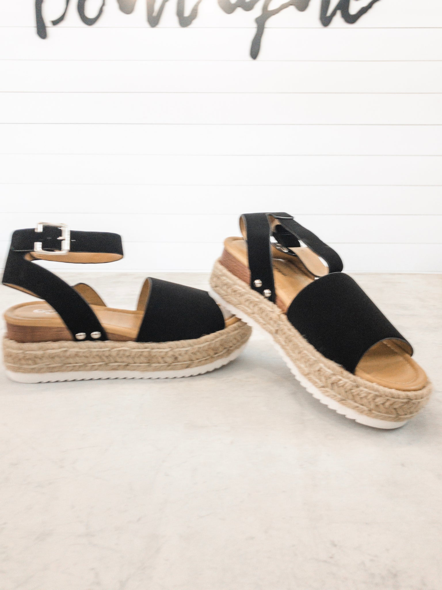 Black Espadrille Wedges with Ankle Strap