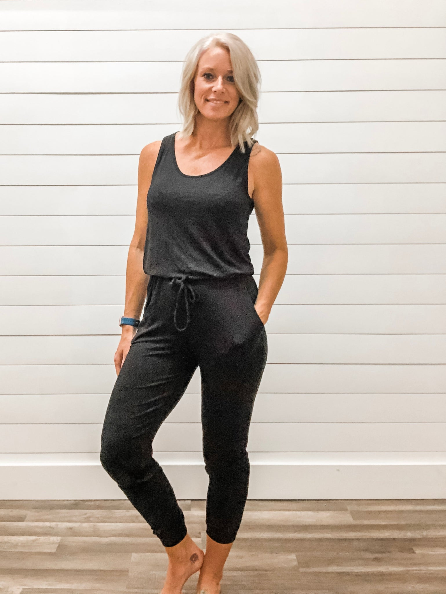 Full Length Jumpsuit with Elastic Waist & Drawstring, Tapered Jogger Hem & Pockets