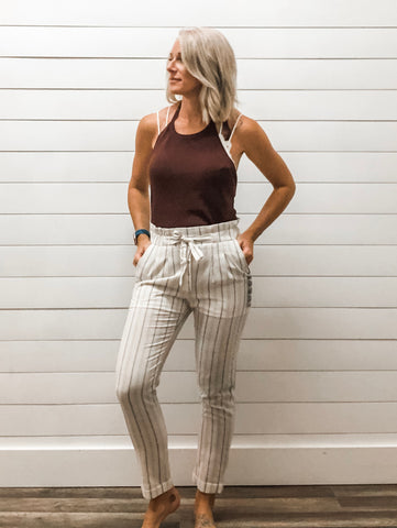 Striped Dress Pants with Waist Tie