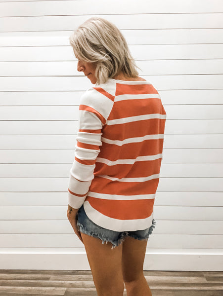 Round Neck, Long Sleeve, Stripe Mixed, Pullover Sweater